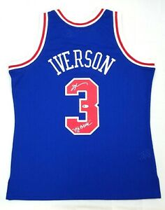 ALLEN IVERSON SIGNED PHILADELPHIA 76ER BLUE MITCHELL & NESS JERSEY W/ THE ANSWER