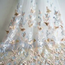 1 Yard 3D Embroidery Ivory Tulle Mesh Lace Fabric For Wedding Bridal Dress DIY