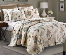 Luxury 100% Cotton Coverlet / Bedspread Set Queen King Size Bed 230x250CM Bird