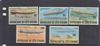IVORY COAST REPUBLIC-ZEPPELIN HISTORY SET-SG 503-7-CTO-NO HINGE-$5-freepost