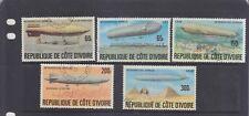 IVORY COAST REPUBLIC-ZEPPELIN HISTORY SET-SG 503-7-CTO-NO HINGE-$5-freepost