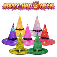 Halloween LED Light Up Witch Hat Glowing Witches Caps Props Hanging Decoration
