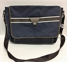 NEW FOSSIL LANE MESSENGER NAVY BLUE+BLACK CANVAS,BROWN LEATHER LAPTOP+CROSSBODY