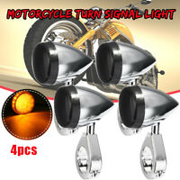4X 41mm Motorcycle Bullet Turn Signal Indicator Lights Fork Clamp For Harley /