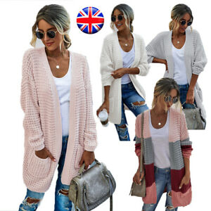 Womens Ladies Chunky Cable Knit Warm Casual Long Sleeves Grandad Cardigan