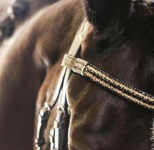 Bling Brownband Mega Sparkly Black leather size Shetland Pony