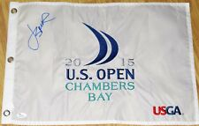 JORDAN SPIETH Signed 2015 US OPEN Flag -  JSA LOA - BLUE - Embroidered - Masters