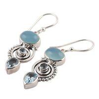Women Jewelry  Sea Blue  Earrings 925 Silver Vintage Topaz Dangle Drop Hook