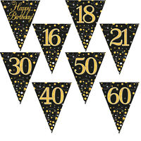 Black Gold Sparkling Fizz Happy Birthday Party Holographic Bunting 11 Flags 3.9m