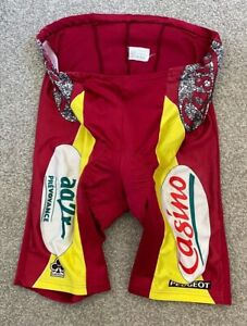 RARE VINTAGE 1980'S PEUGEOT CASINO COLNAGO TEAM CYCLING SHORTS SUIT S - M