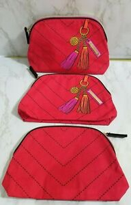 60xESTEE LAUDER RED PRINTED TASSEL MAKEUP COSMETIC TRAVEL POUCH BAG 9*6*2 INCH