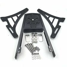 Black Skull Backrest Sissy Bar with Leather Pad For Harley Sportster 883 1200