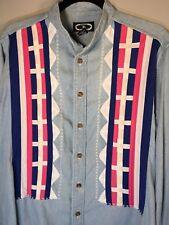 1833417ad8 Three Rivers Rodeo Riding Mens S Collarless Denim Ribbon Long Sleeve Shirt