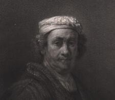 1840 Gravure Rembrandt le vieux portrait peintre Gavard