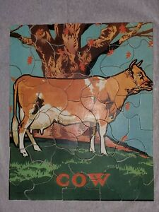Vintage 1932 COW Easy Jigsaw Puzzle Saalfield Pub Co Dairy Old Farm Animal