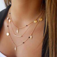 UK BOHO LEAF BEAD CHARM MULTI LAYER NECKLACE Ethnic Tribal Gold Jewellery Gift