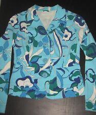 Giacca Benetton XS/S(40)-cotone-floreale-turchese/blu/bianco-monopetto-Hippie