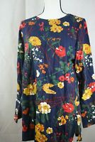 Denim & Co. Floral Print Perfect Jersey Round Neck Long Sleeve Tunic Blue Size S