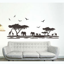 Huge African Animal Tree Elephant Wall Sticker Art Decal Paper PVC Nursery Decor