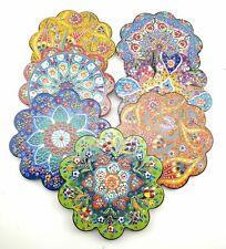 Anatolian Design Floral Pattern Flower Shape Ceramic Coaster