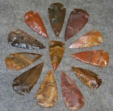 """5 HAND KNAPPED  AGATE ARROWHEAD   1 7/8"""" - 2 1/2"""" (NEW GREAT SIZE)"""