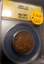1850 Certified Braided Hair Large Cent, AU50, C228