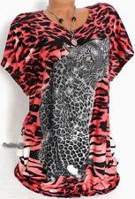 Damen SHIRT Longshirt glitzer Strass T-Shirt Damenshirt große Größe Coral 46 48