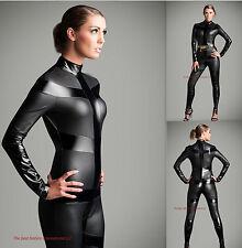 Black Metallic Unisex Catsuit & Bodysuit Jumpersuit striped Costume Zipper