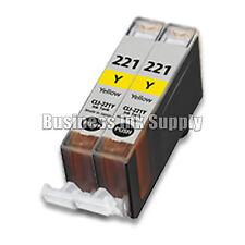 2 YELLOW CLI-221 Canon CLI-221Y CLI-221 Y CLI 221 CLI221 Ink Cartridge NEW CHIP