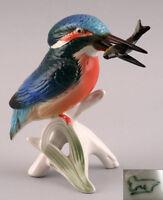 Porzellan Figur Ens Vogel Eisvogel mit Fisch H11,5cm 9941035