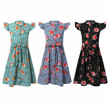 Kid Girls Summer Vintage Floral Dress Short Sleeve Chiffon Holiday Party Dresses