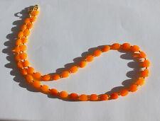 Natur Feueropal Kette Edelsteinkette Oval Orange farbspiel Collier Damen 49 cm