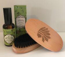 Men's Natural Beard brush & Moroccan Oil - 100% Pure & Organic - 2 piece set -