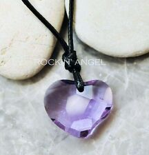 Lilac Heart Adjustable Pendant Necklace Made with Swarovski Crystal  Ladies Gift