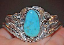 Vintage Sterling Silver Turquoise Bracelet Made Navajo Silversmith Justin Morris