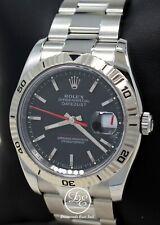 Rolex Datejust 116264 Turn-O-Graph 18K White Gold Bezel Black Dial Watch  *MINT*