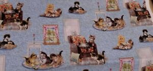 New Bale End 100% Cotton Fabric Playful Kittens on Blue W 112 cm x  L 43 cm