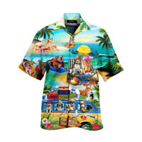 Funky Hawaiihemd Herren Sommer Strand Urlaub Bluse Kurzarm Hawaiian Shirt Beach