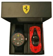 Ferrari Men's RedRev Black Silicone Strap Watch and Diecast Car in box