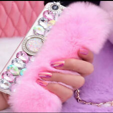 NEW COOL PINK FUR DIAMOND DESIGNER BLING DIAMANTE CASE COVER GIFT IPHONE SAMSUNG