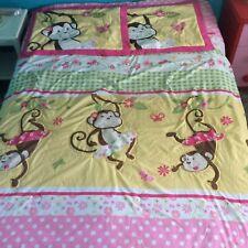 Girls Full Size Comforter & Pillow Sham Set Pink White Monkeys Cute