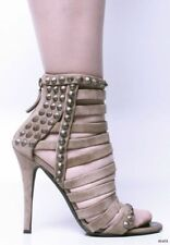 new $1525 GIUSEPPE ZANOTTI for BALMAIN taupe open-toe STUDDED strappy shoes