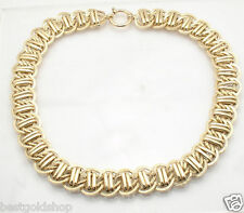 """18"""" Double Row Railroad Curb Link Chain Necklace 14K Yellow Gold Clad Silver"""