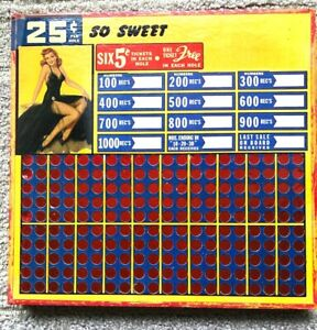 """Vintage punchboard 'SO SWEET'' COLORFUL Board 13"""" x 13.5""""  1940s``"""