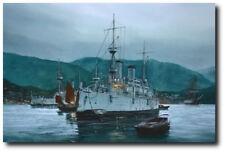 """Quiet Before the Storm"" by Tom Freeman - U.S.S. Olympia - Naval Art Print"