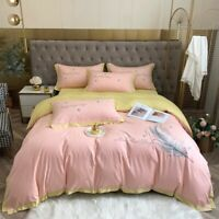 Luxury  Egyptian Cotton Bedding Set Embroidery Duvet Cover Flat/Fitted Sheet
