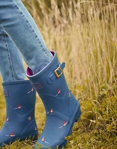 Joules Womens Molly Mid Height Printed Wellies - Teal Pheasant - Adult 5