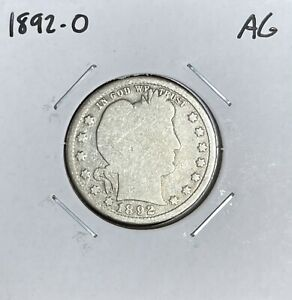 1892-O Barber Quarter - AG - About Good - 90% Silver
