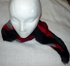 WOOL SCARF ACCESSORY STREET OSCAR DE LA RENTA Handkerchief RED WRAP NECK TIE
