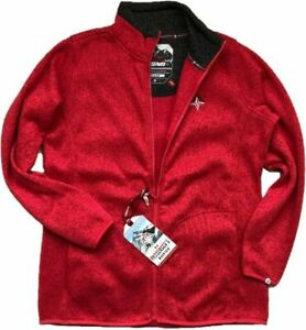 WOMENS Red Fleece Hiking Warm Anti Pill Cardigan Full Zip JACKET Jumper S 10-20